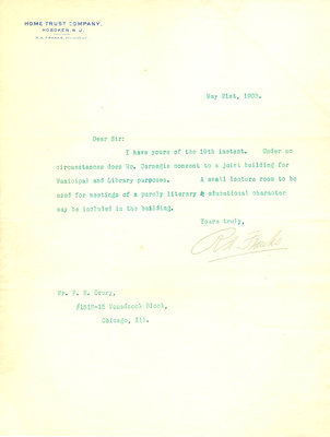 Letter to F. H. Drury from R. A. Franks, 21 May 1903