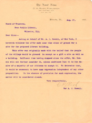 Letter to the Board of Trustees Wilmette Free Public Library from C. H. Rush, on behalf of A. J. Howell, 17 August 1903