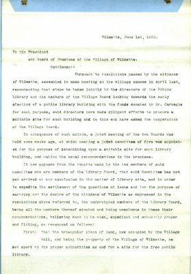 Recommendations to the Board of Trustees of the Village of Wilmette regarding a public library in Wilmette, 1 June 1903