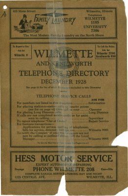 Telephone Directory for Wilmette and Kenilworth, December 1928