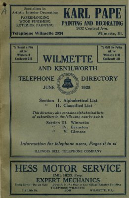 Telephone Directory for Wilmette and Kenilworth, June 1925