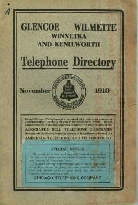 Telephone Directory for Glencoe, Wilmette, Winnetka and Kenilworth, November 1910