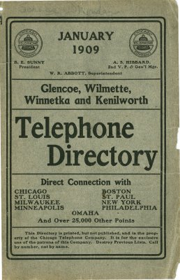 Telephone Directory for Glencoe, Wilmette, Winnetka and Kenilworth, January 1909