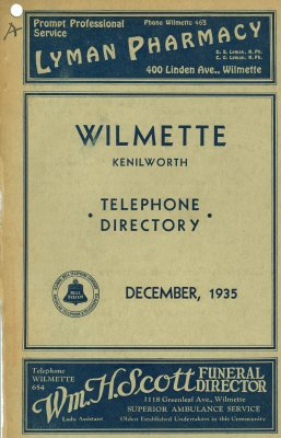 Telephone Directory for Wilmette and Kenilworth, December 1935