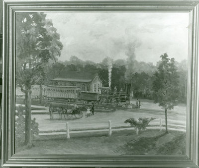 Painting of the Wilmette railroad station