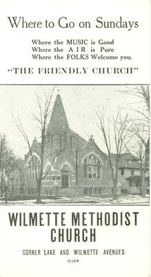 Wilmette Methodist Church advertisement card