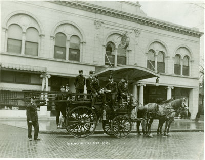 Wilmette firemen and horse-drawn wagon