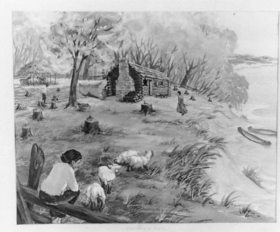 Artist's conception of Ouilmette family homestead