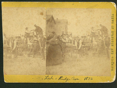 Stereograph of an outdoor tavern at Lake and Ridge Avenue about 1872