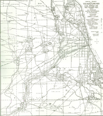 Map Indian Trails and Village of Chicago and of Cook, Dupage and Will Counties, Illinois