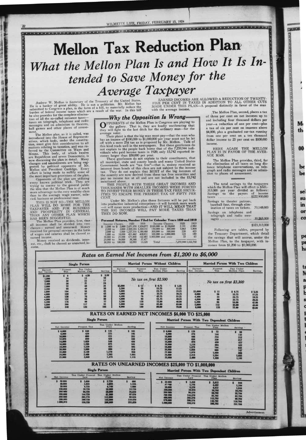 Wilmette Life (Wilmette, Illinois), 15 Feb 1924
