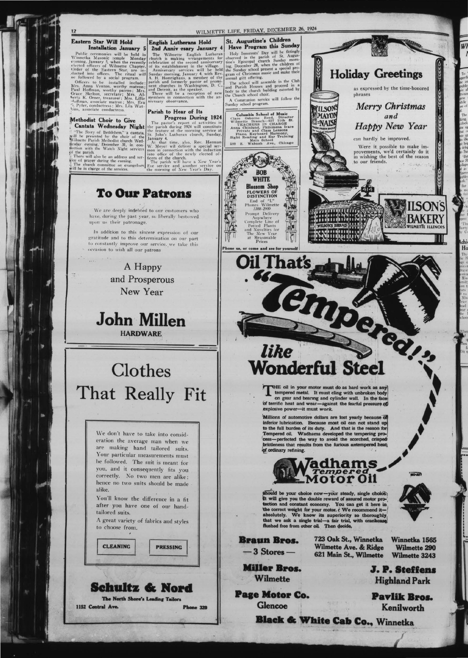 Wilmette Life (Wilmette, Illinois), 26 Dec 1924