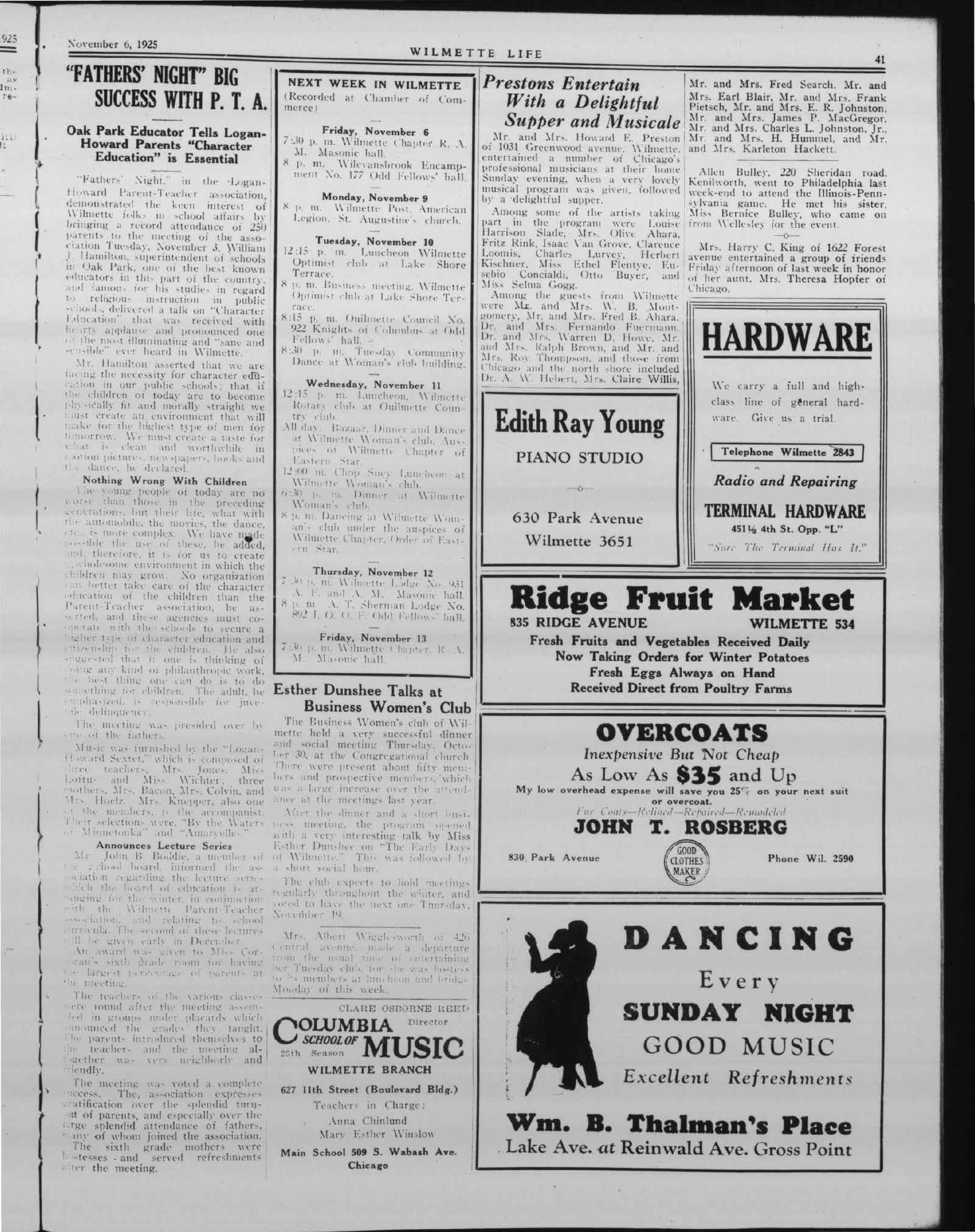 Wilmette Life (Wilmette, Illinois), 6 Nov 1925
