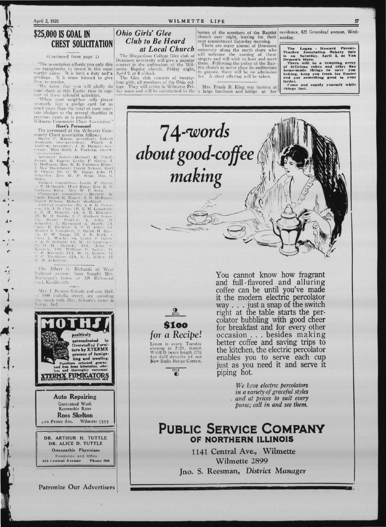 Wilmette Life (Wilmette, Illinois), 2 Apr 1926