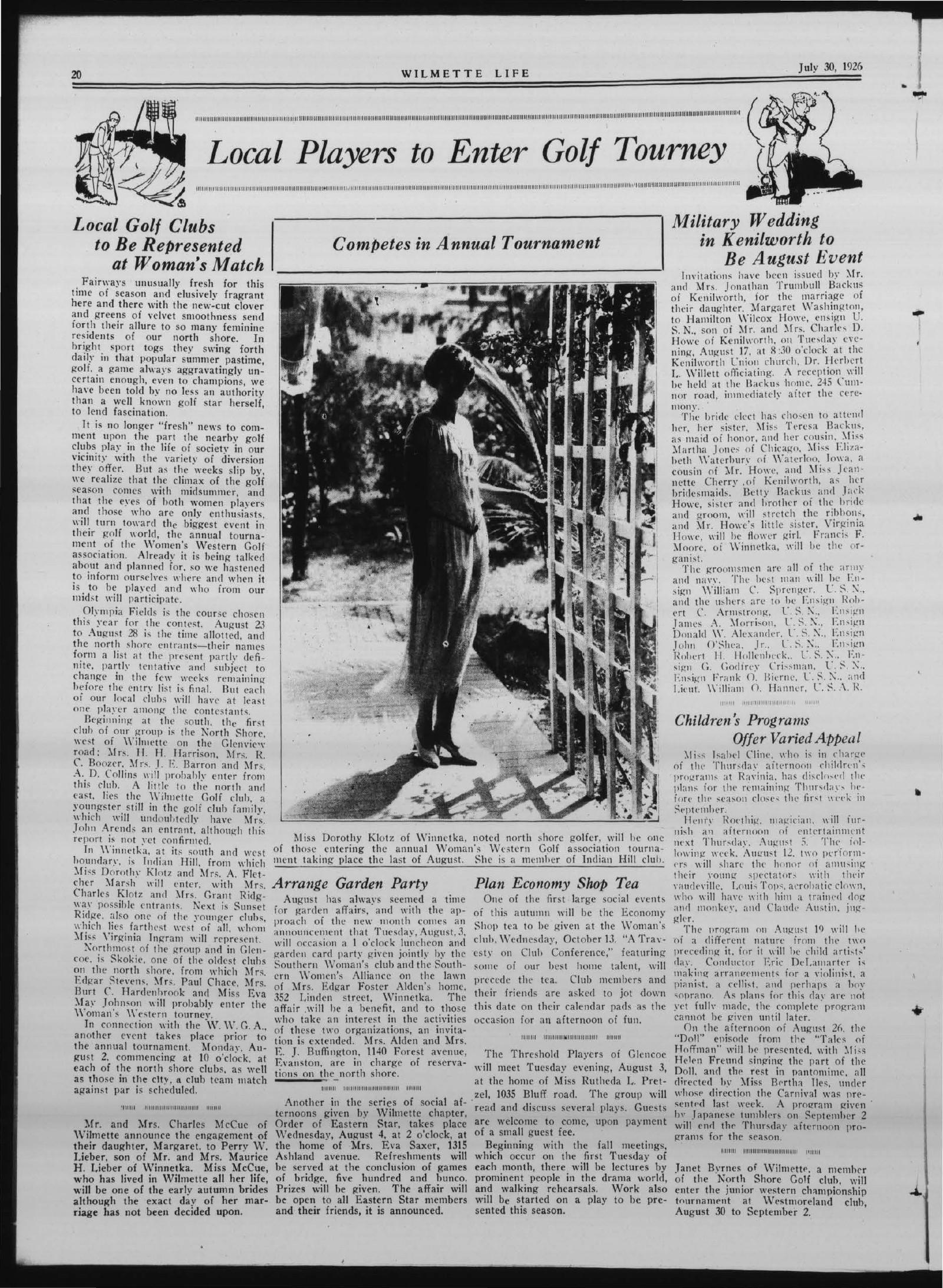 Wilmette Life (Wilmette, Illinois), 30 Jul 1926