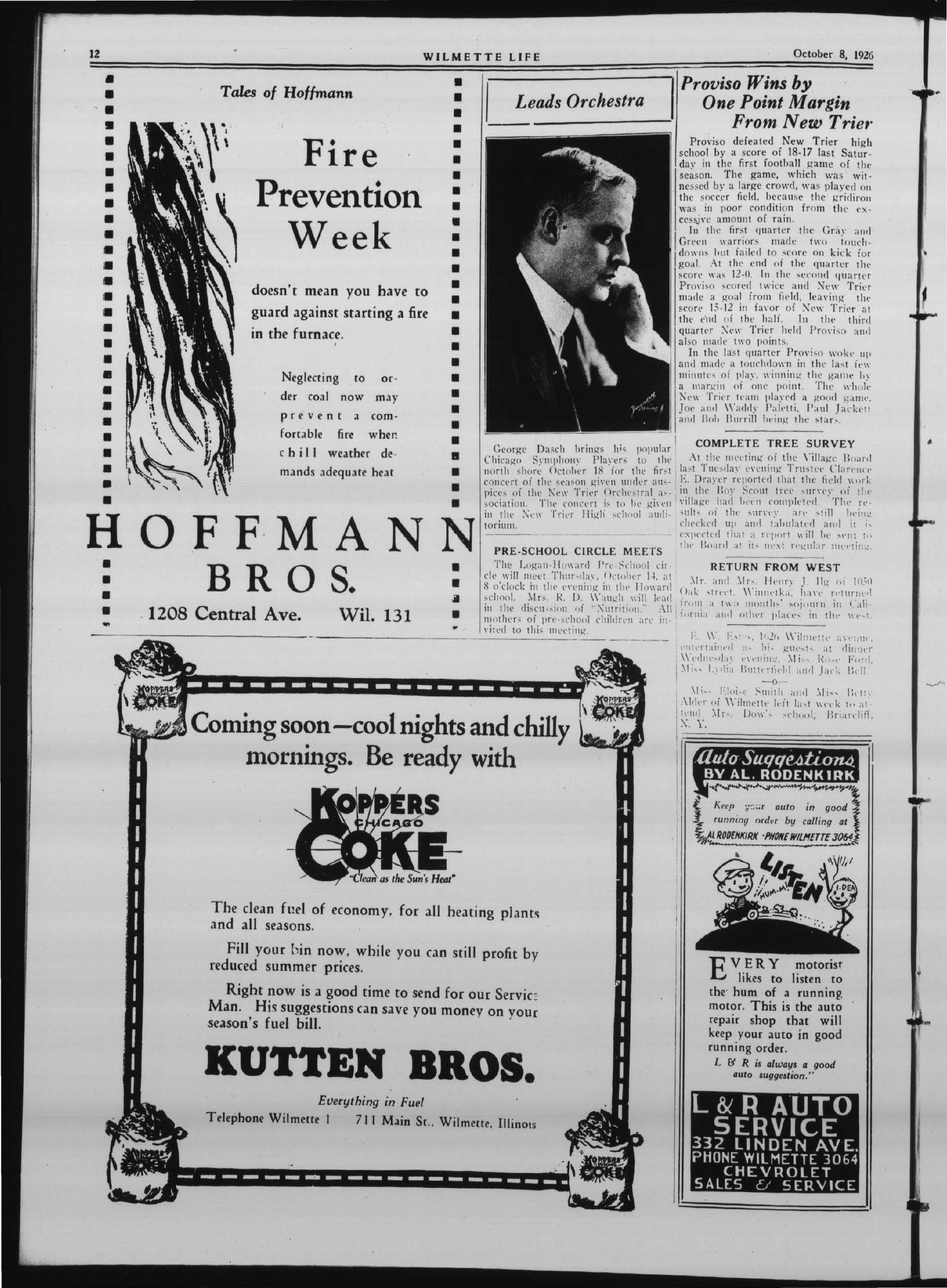Wilmette Life (Wilmette, Illinois), 8 Oct 1926