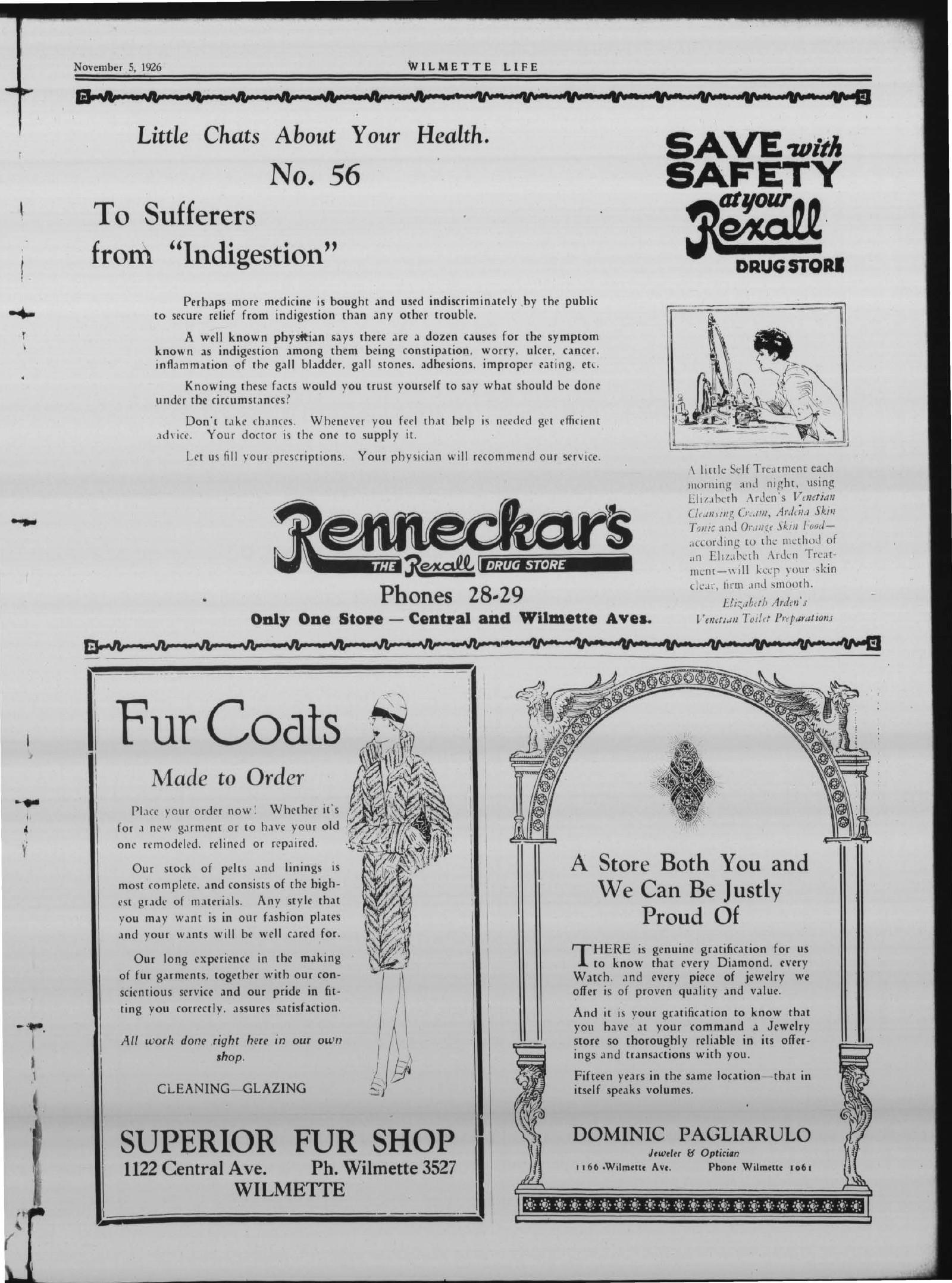 Wilmette Life (Wilmette, Illinois), 5 Nov 1926