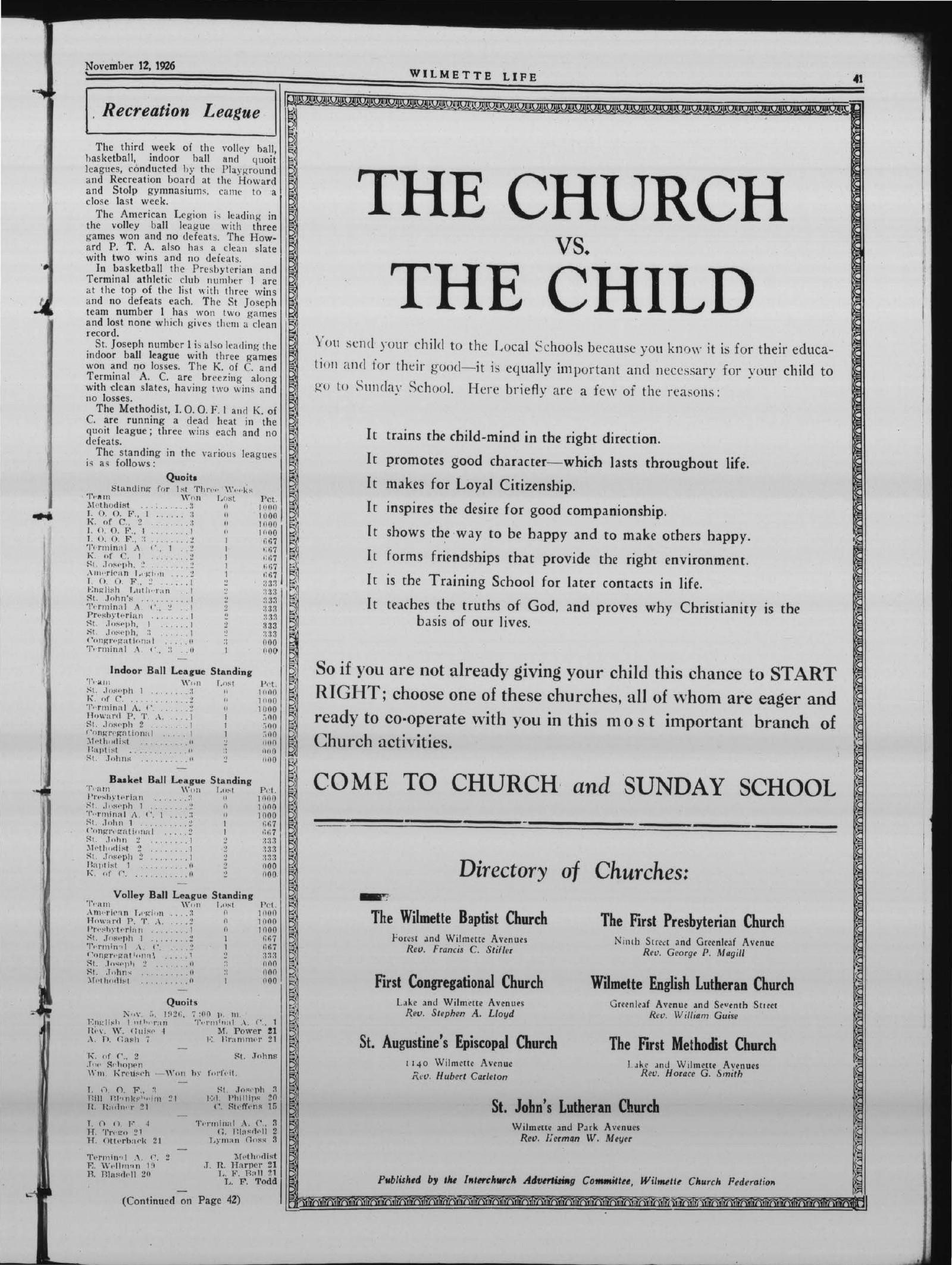 Wilmette Life (Wilmette, Illinois), 12 Nov 1926