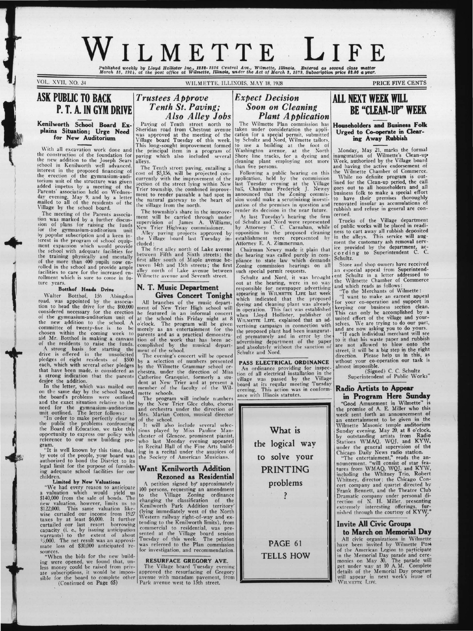 Wilmette Life (Wilmette, Illinois), 18 May 1928