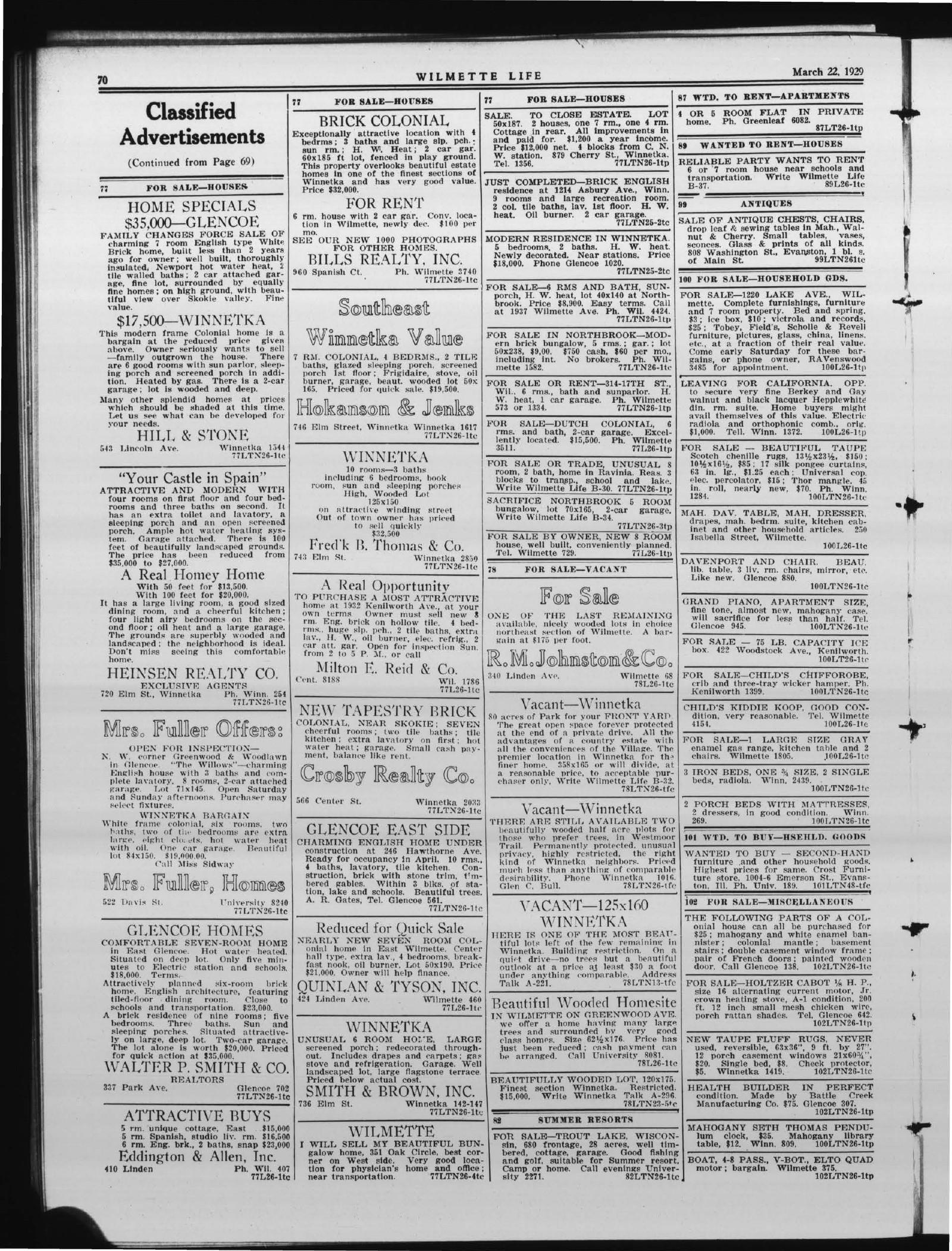 Wilmette Life (Wilmette, Illinois), 22 Mar 1929