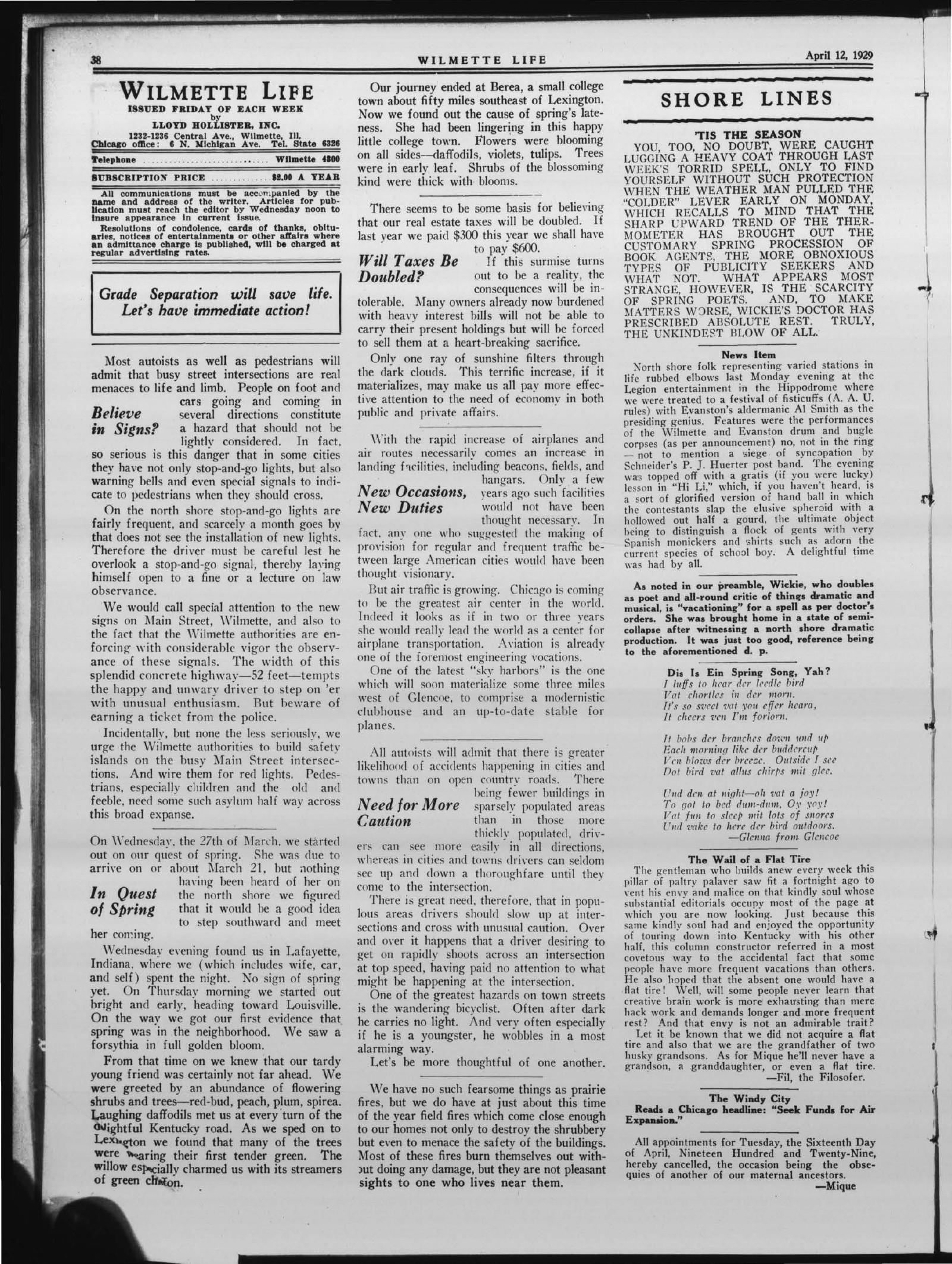 Wilmette Life (Wilmette, Illinois), 12 Apr 1929