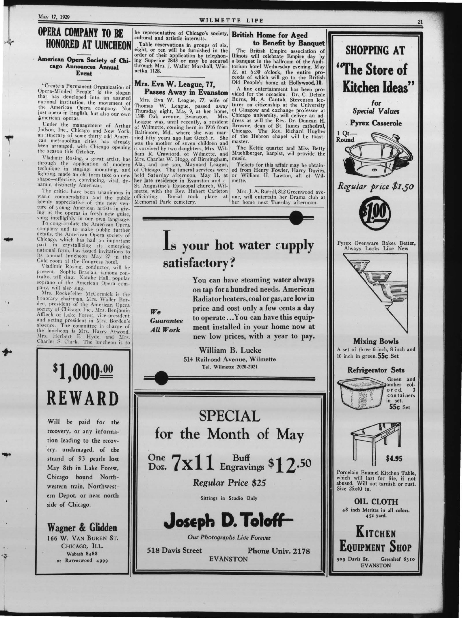 Wilmette Life (Wilmette, Illinois), 17 May 1929