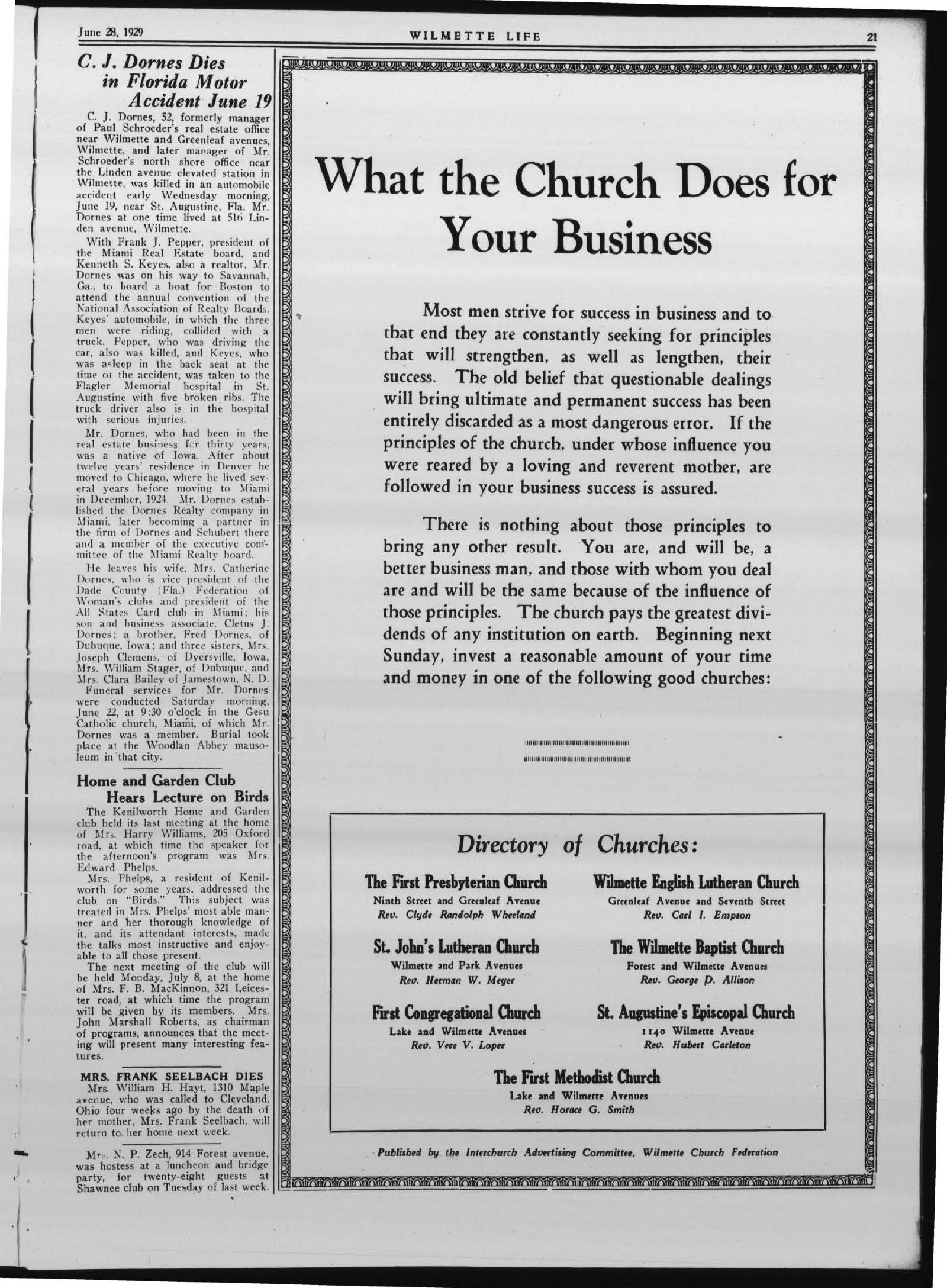 Wilmette Life (Wilmette, Illinois), 28 Jun 1929