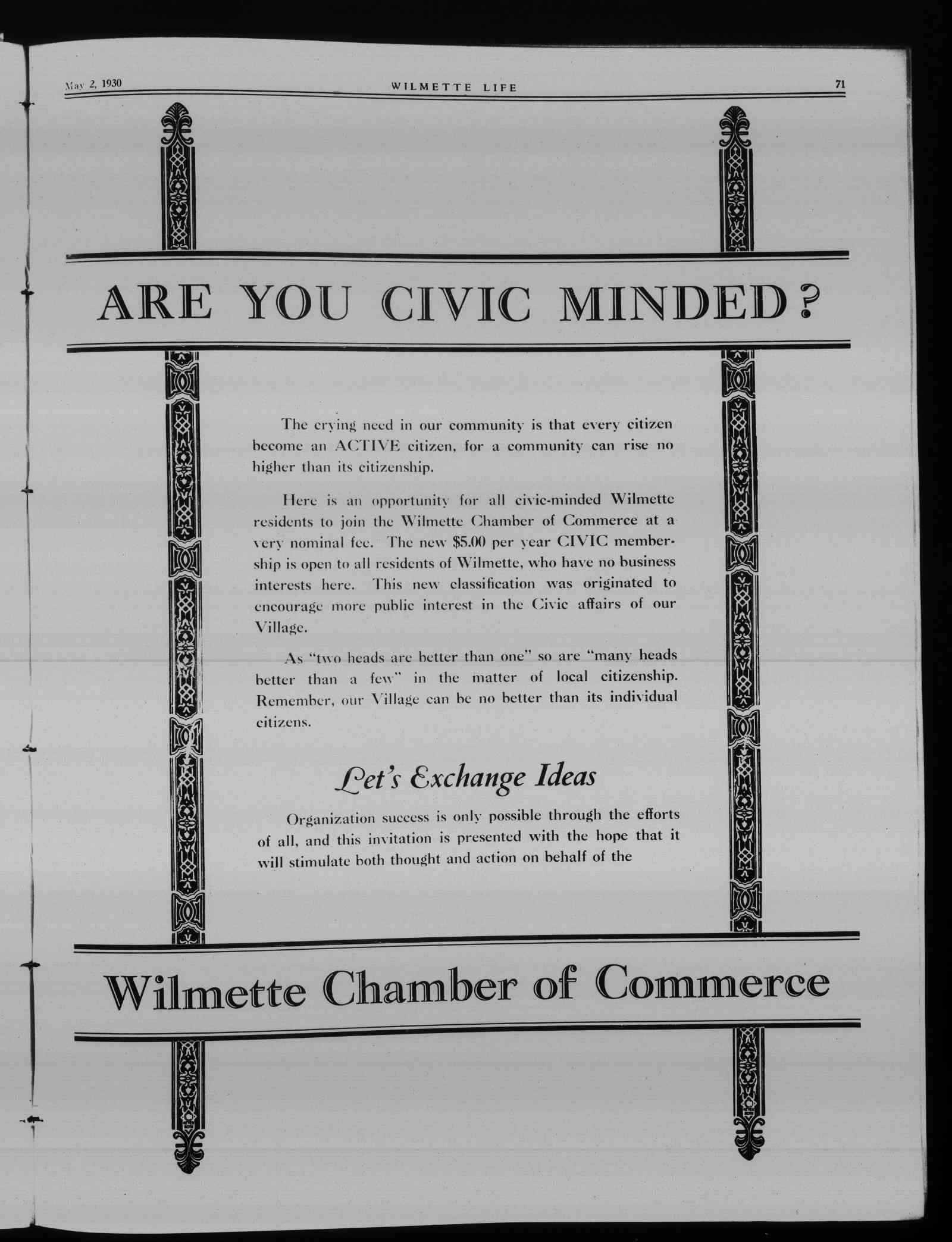 Wilmette Life (Wilmette, Illinois), 2 May 1930