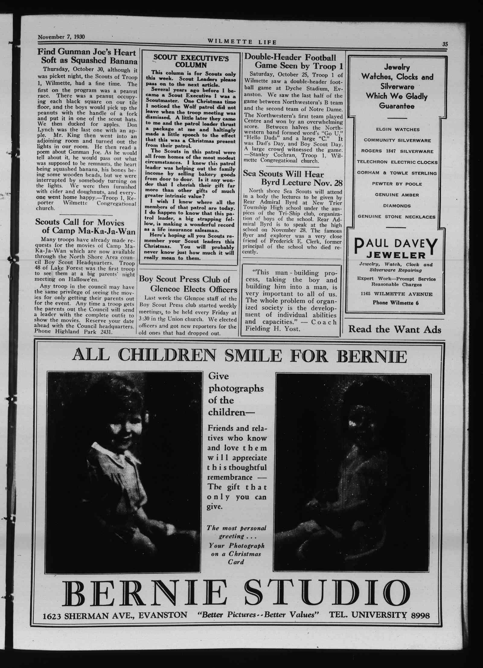 Wilmette Life (Wilmette, Illinois), 7 Nov 1930