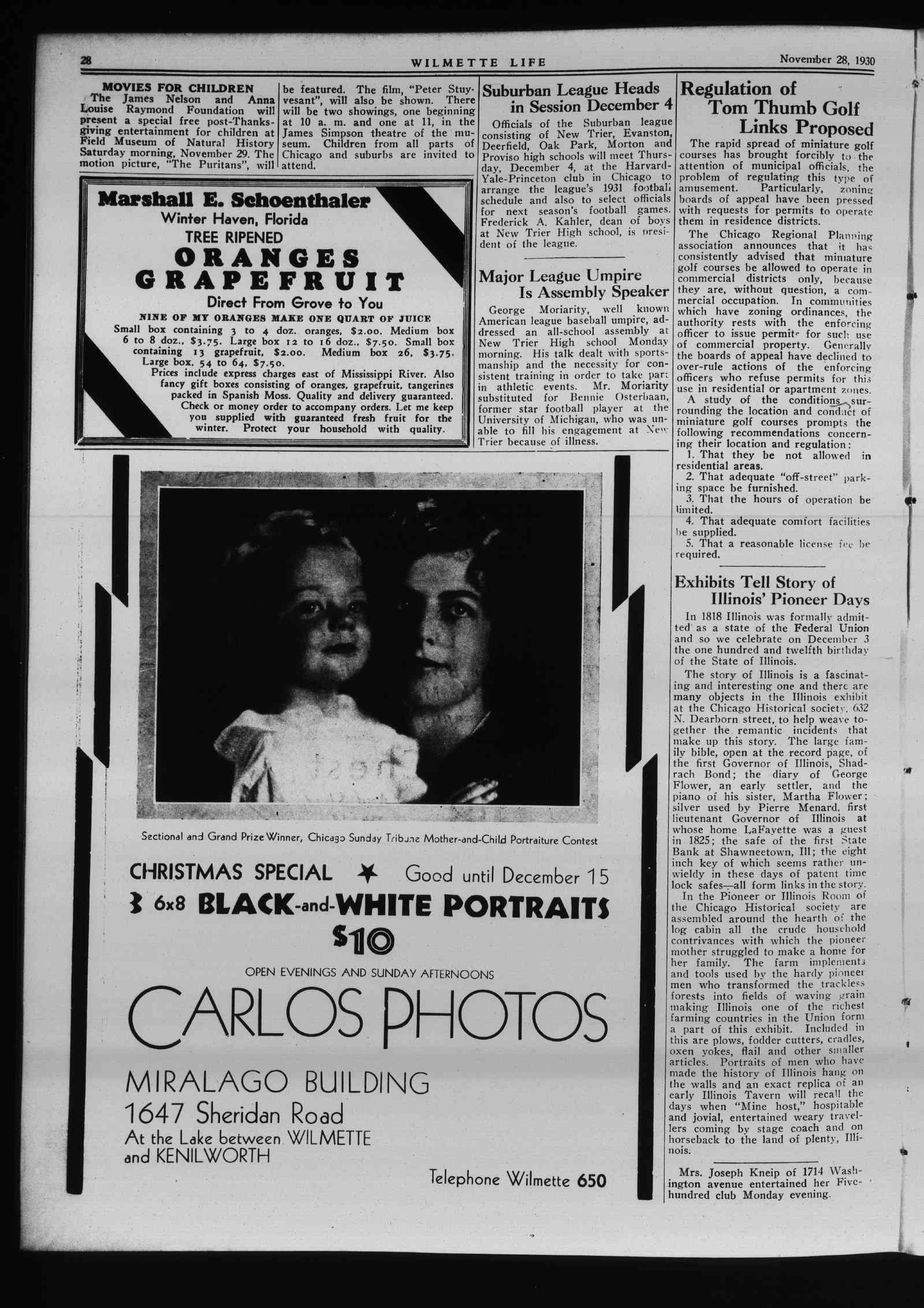 Wilmette Life (Wilmette, Illinois), 28 Nov 1930