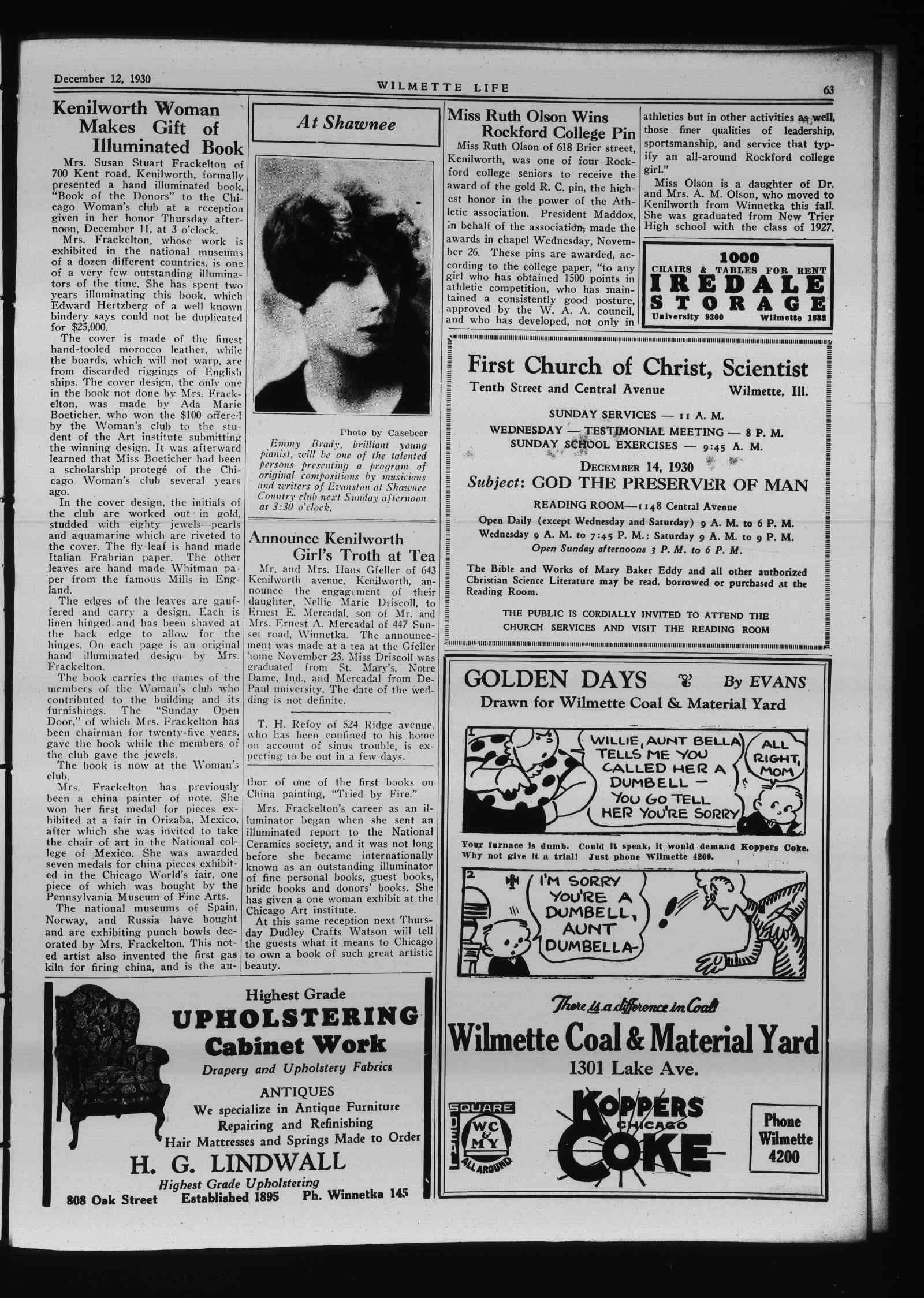 Wilmette Life (Wilmette, Illinois), 12 Dec 1930