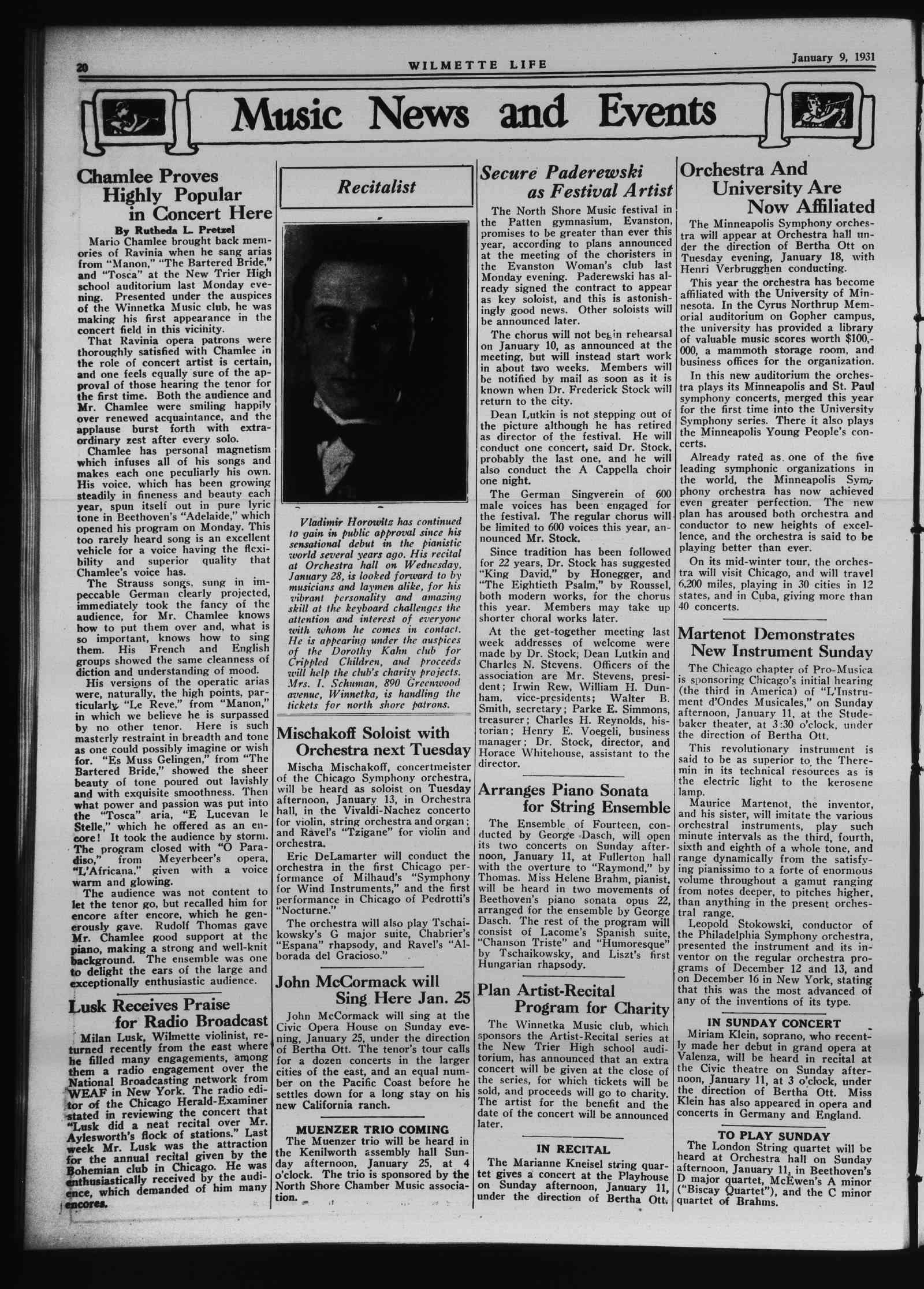 Wilmette Life (Wilmette, Illinois), 9 Jan 1931