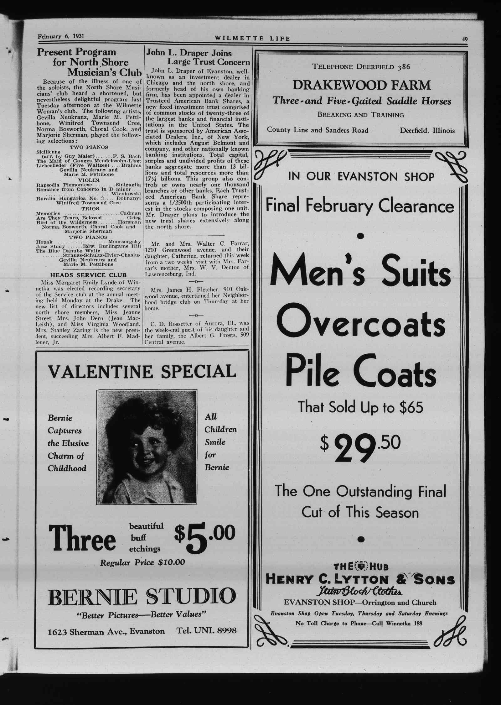 Wilmette Life (Wilmette, Illinois), 6 Feb 1931
