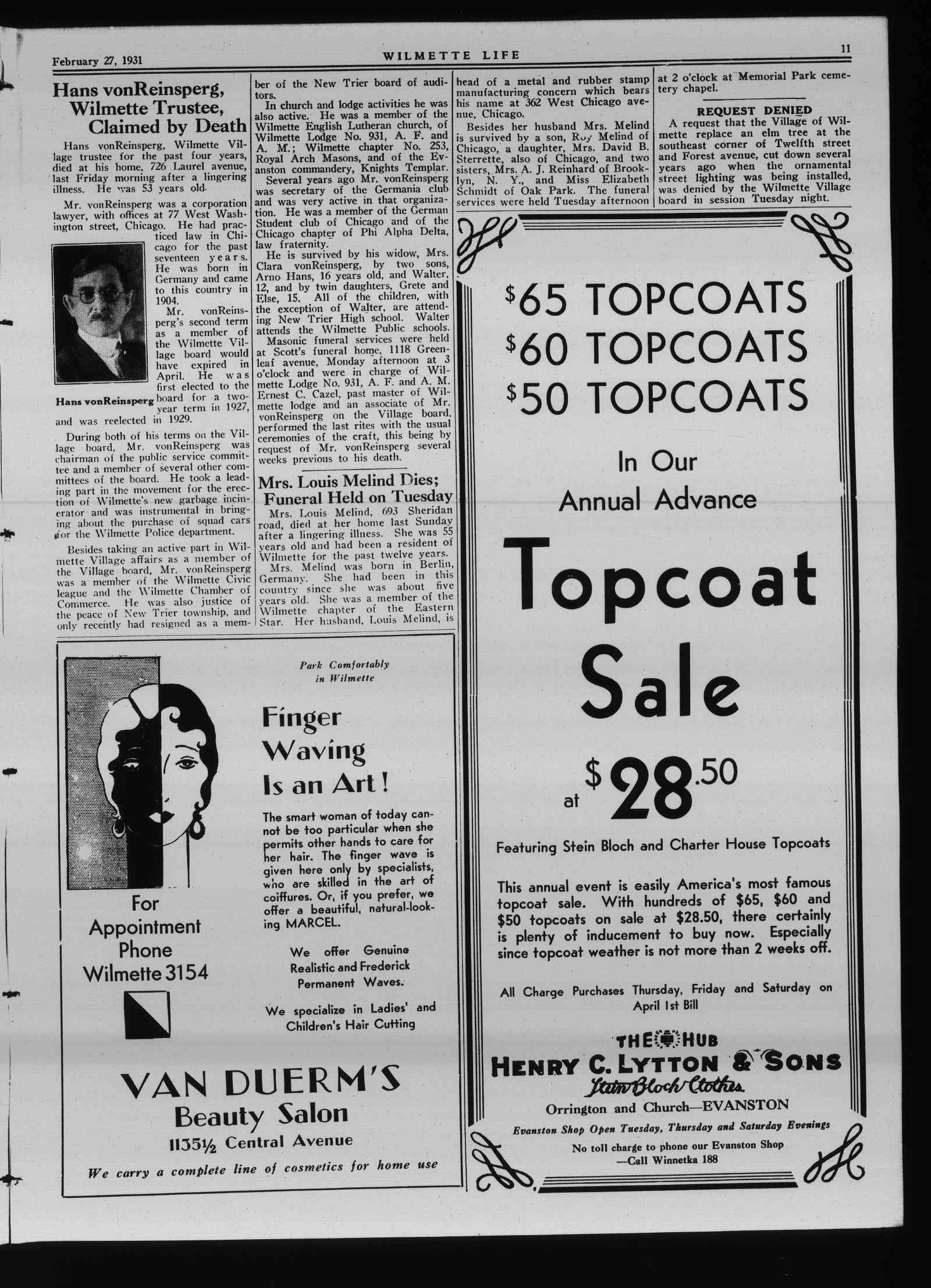Wilmette Life (Wilmette, Illinois), 27 Feb 1931