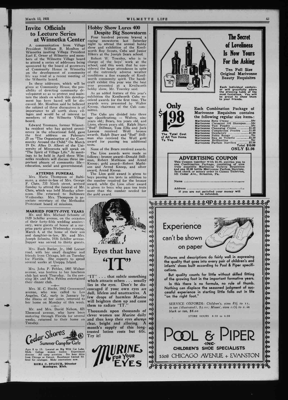 Wilmette Life (Wilmette, Illinois), 13 Mar 1931