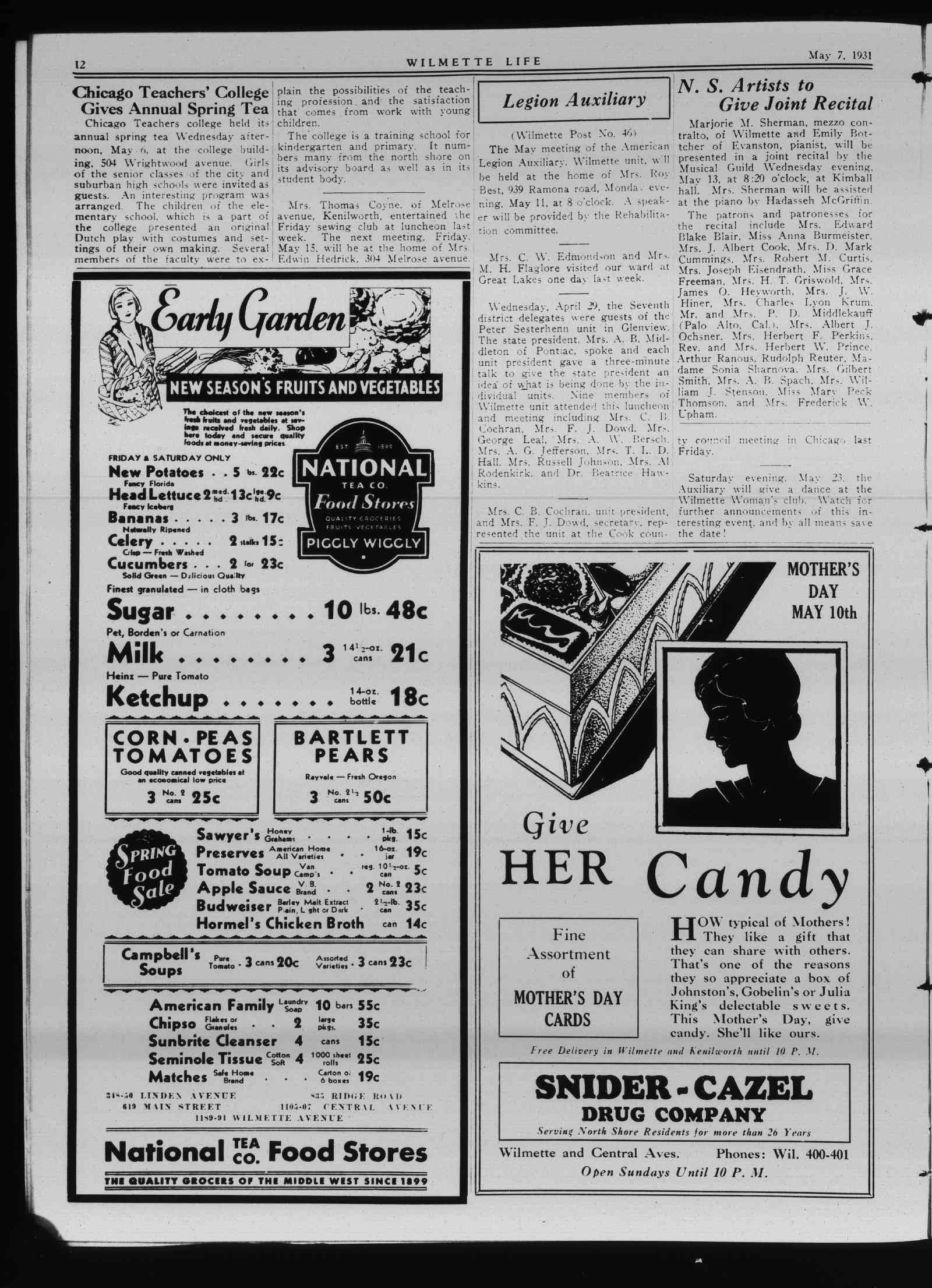 Wilmette Life (Wilmette, Illinois), 7 May 1931