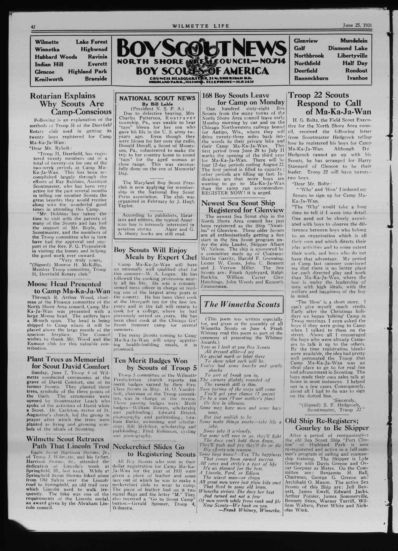 Wilmette Life (Wilmette, Illinois), 25 Jun 1931