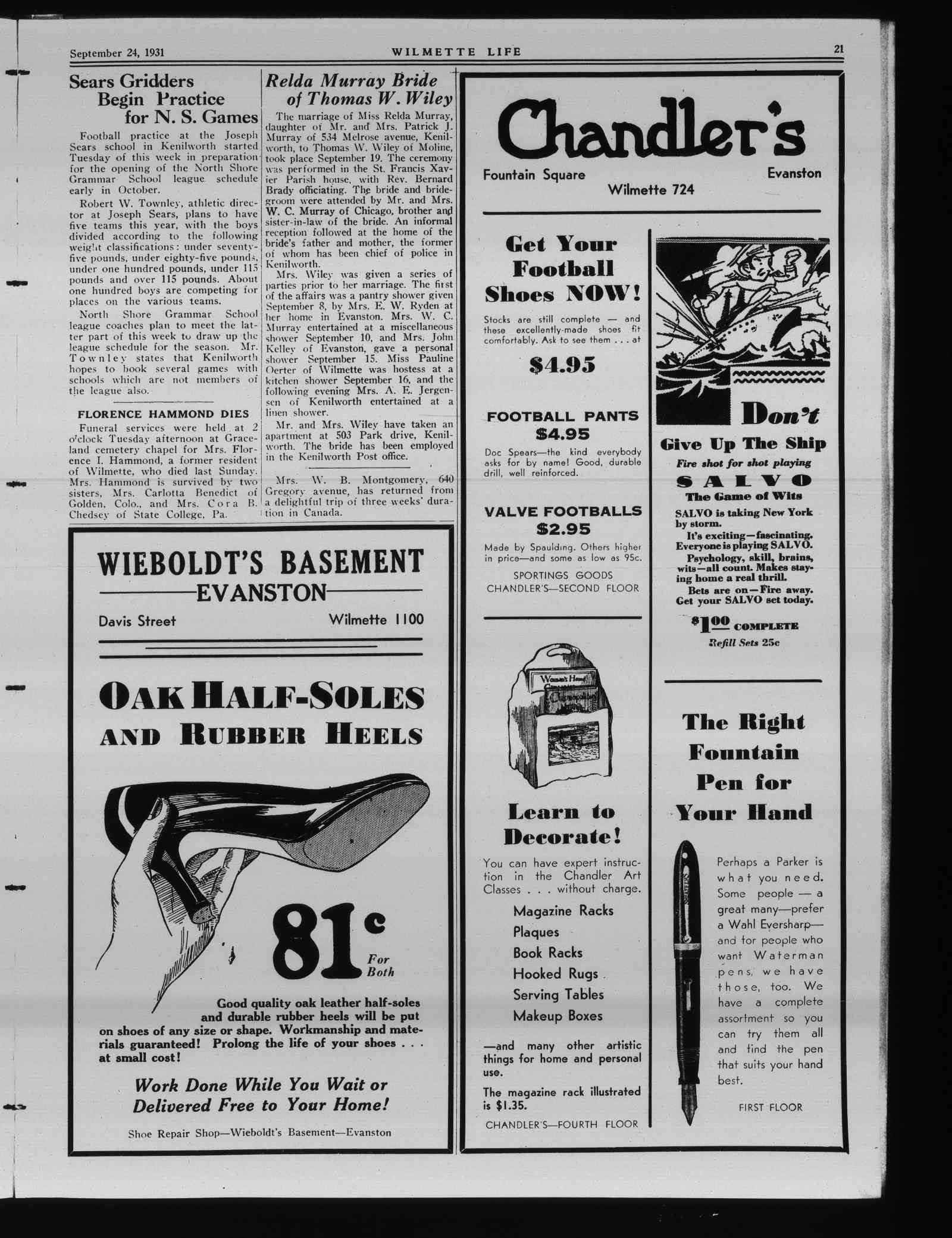 Wilmette Life (Wilmette, Illinois), 24 Sep 1931