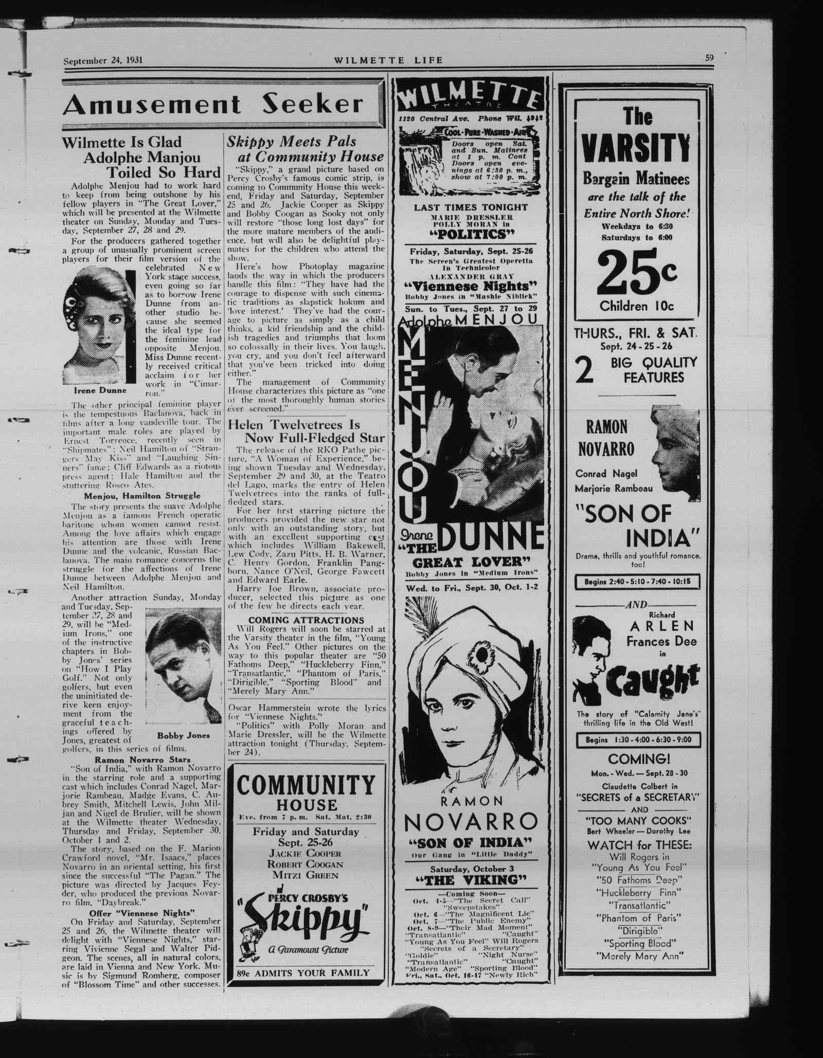 Wilmette Life (Wilmette, Illinois), 24 Sep 1931