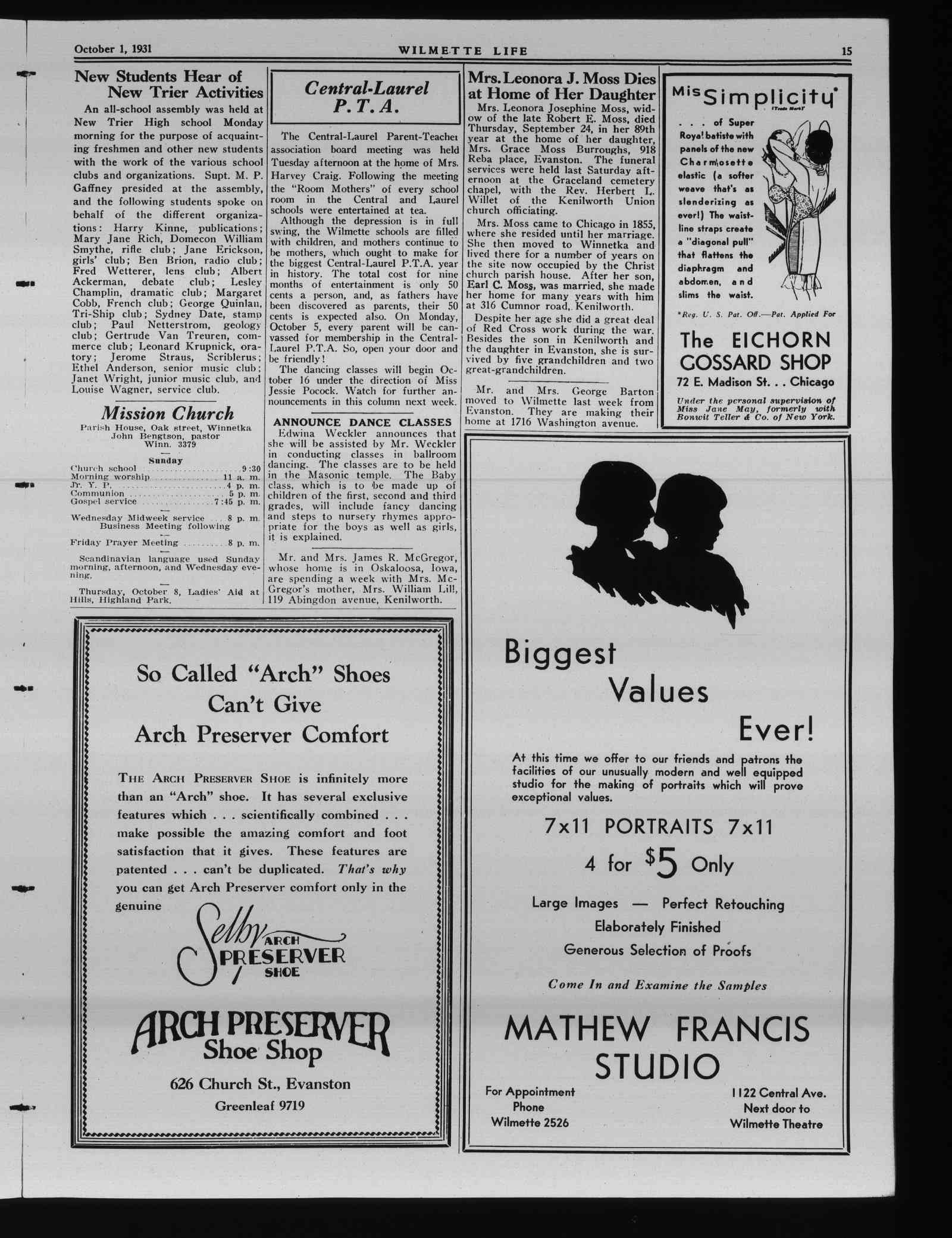 Wilmette Life (Wilmette, Illinois), 1 Oct 1931