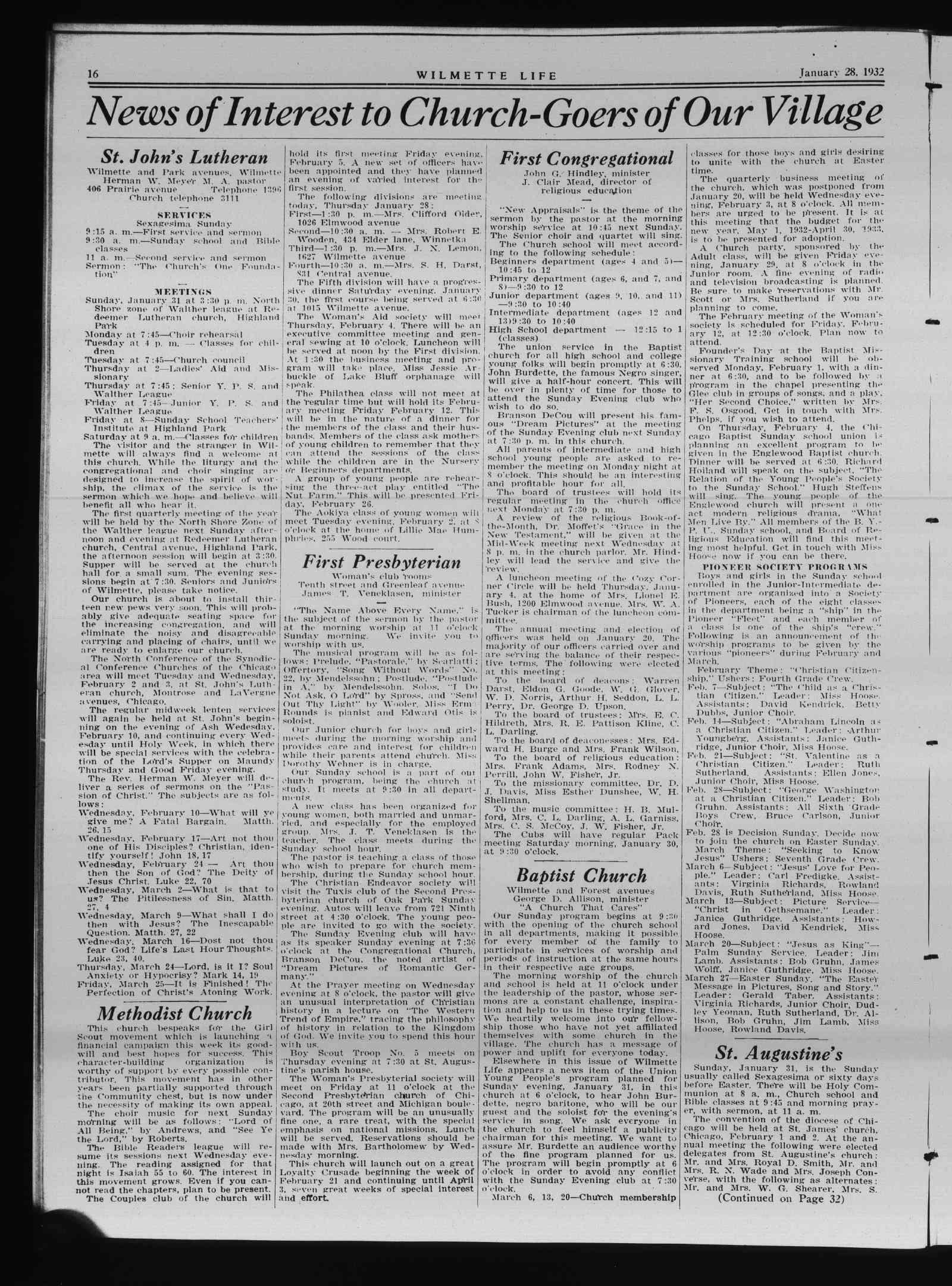 Wilmette Life (Wilmette, Illinois), 28 Jan 1932