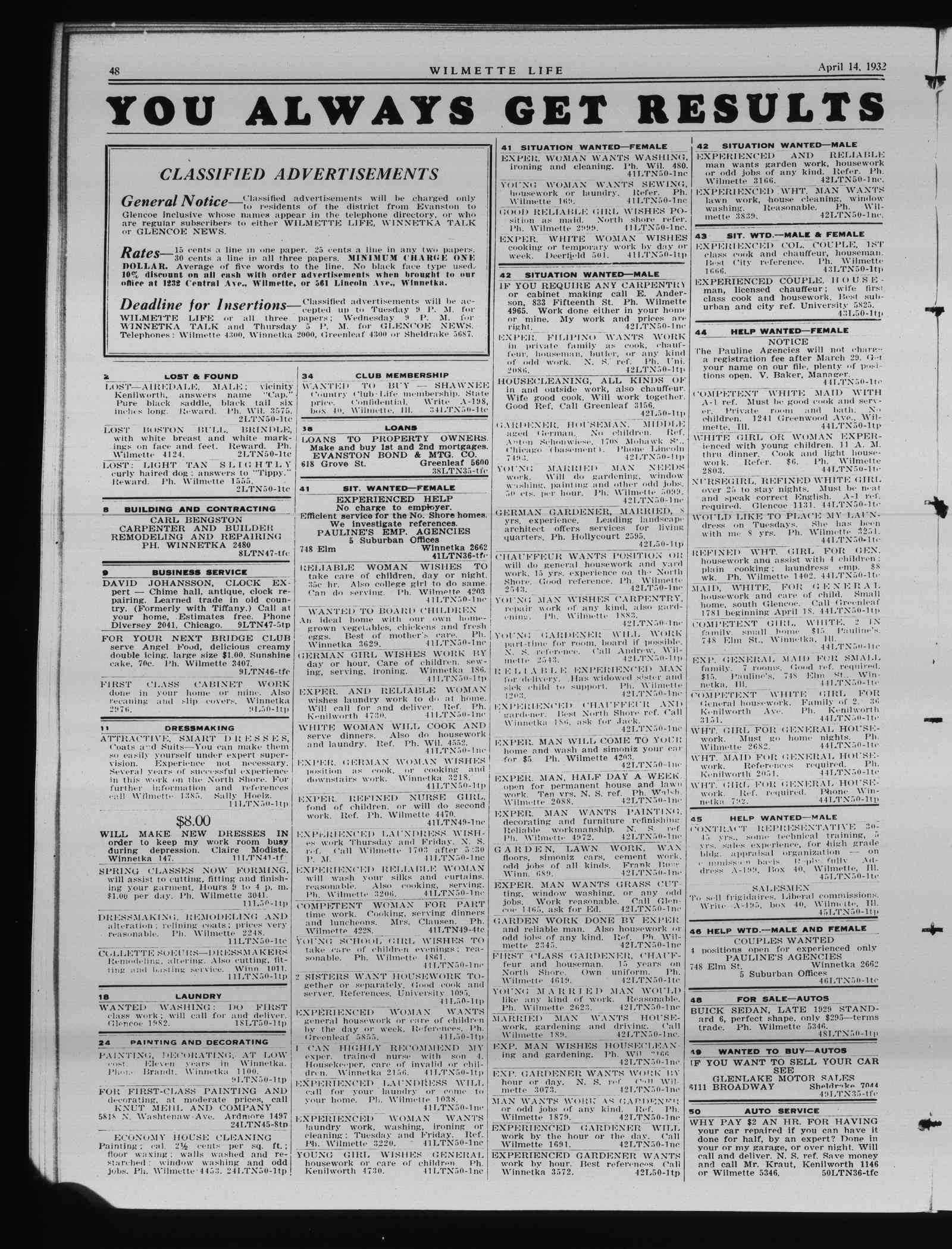 Wilmette Life (Wilmette, Illinois), 14 Apr 1932