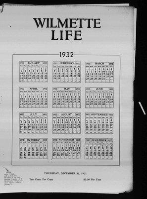 Wilmette Life (Wilmette, Illinois), 31 Dec 1931