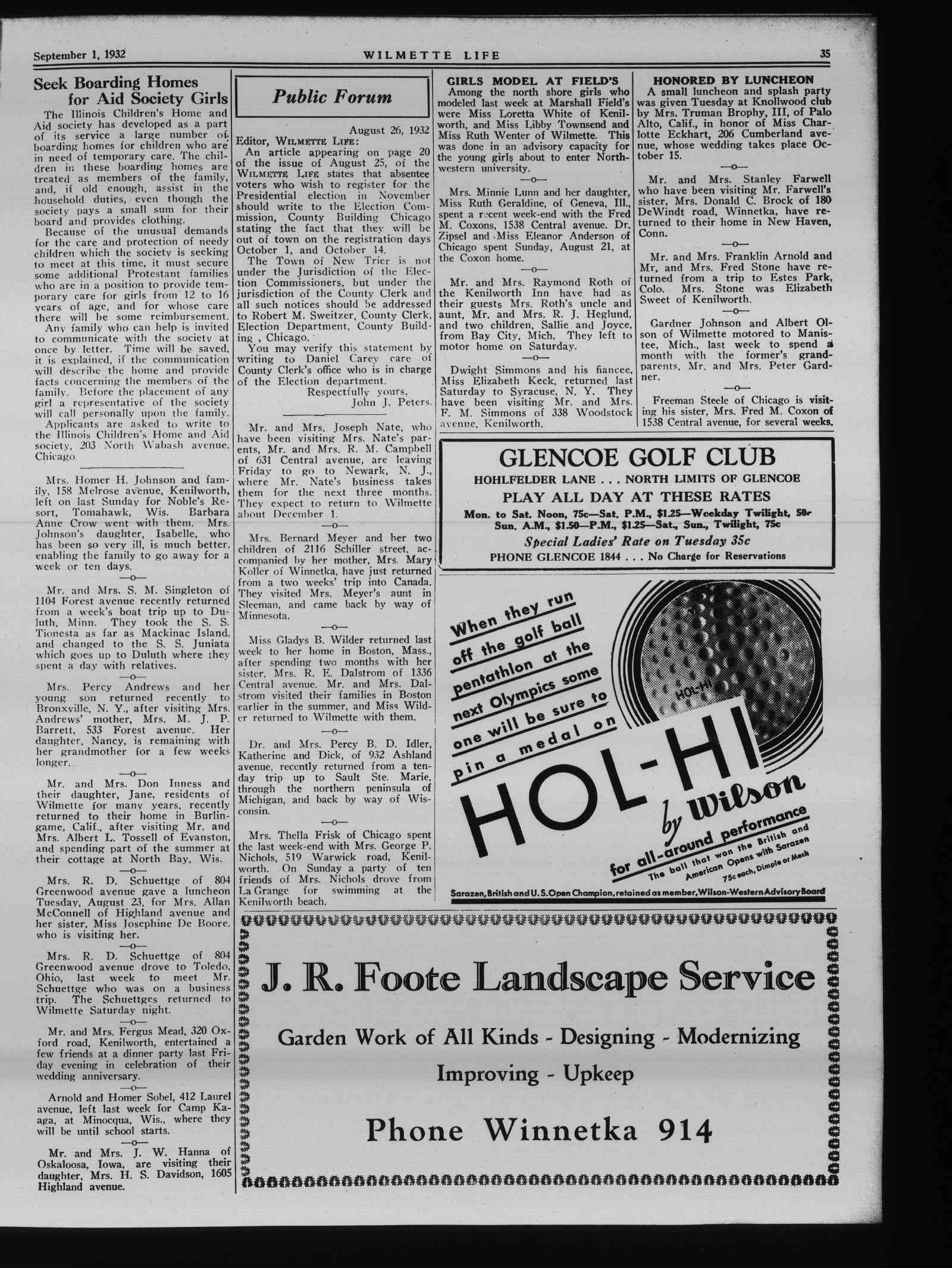Wilmette Life (Wilmette, Illinois), 1 Sep 1932