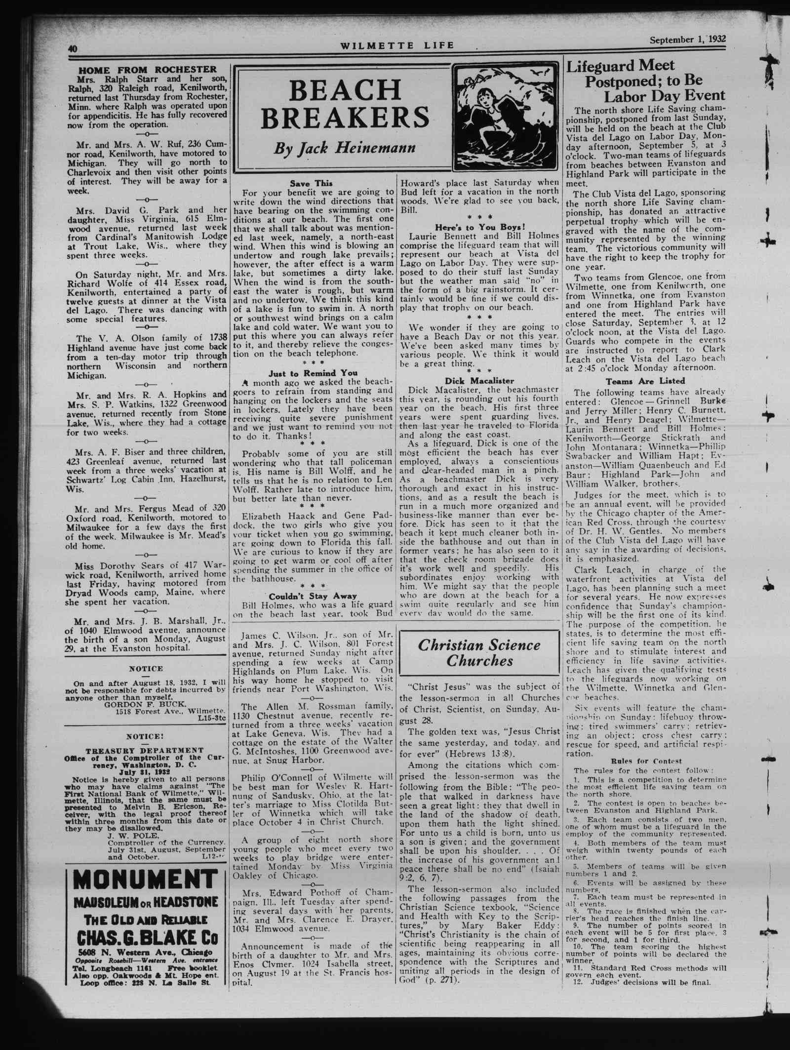 Wilmette Life (Wilmette, Illinois), 1 Sep 1932