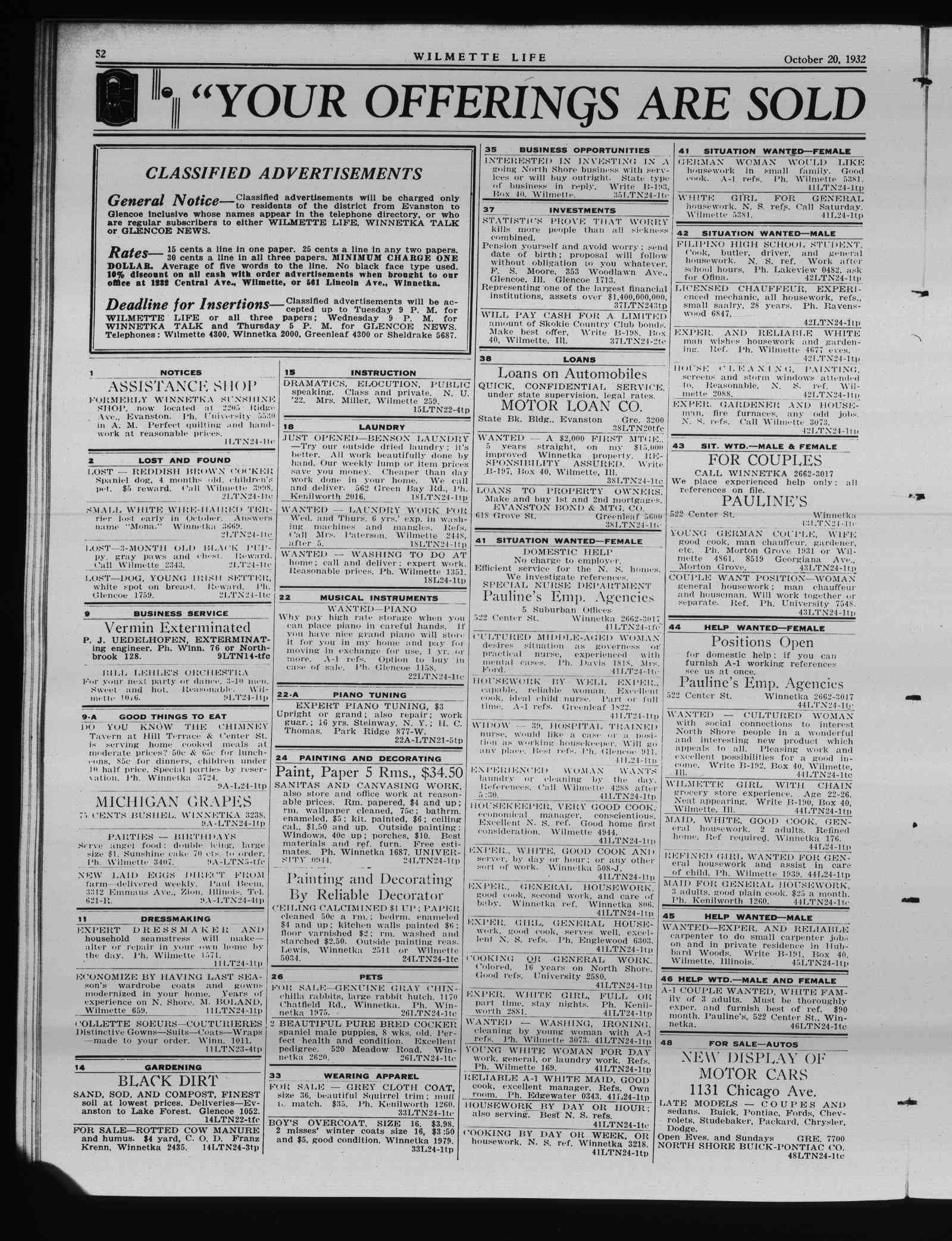 Wilmette Life (Wilmette, Illinois), 20 Oct 1932