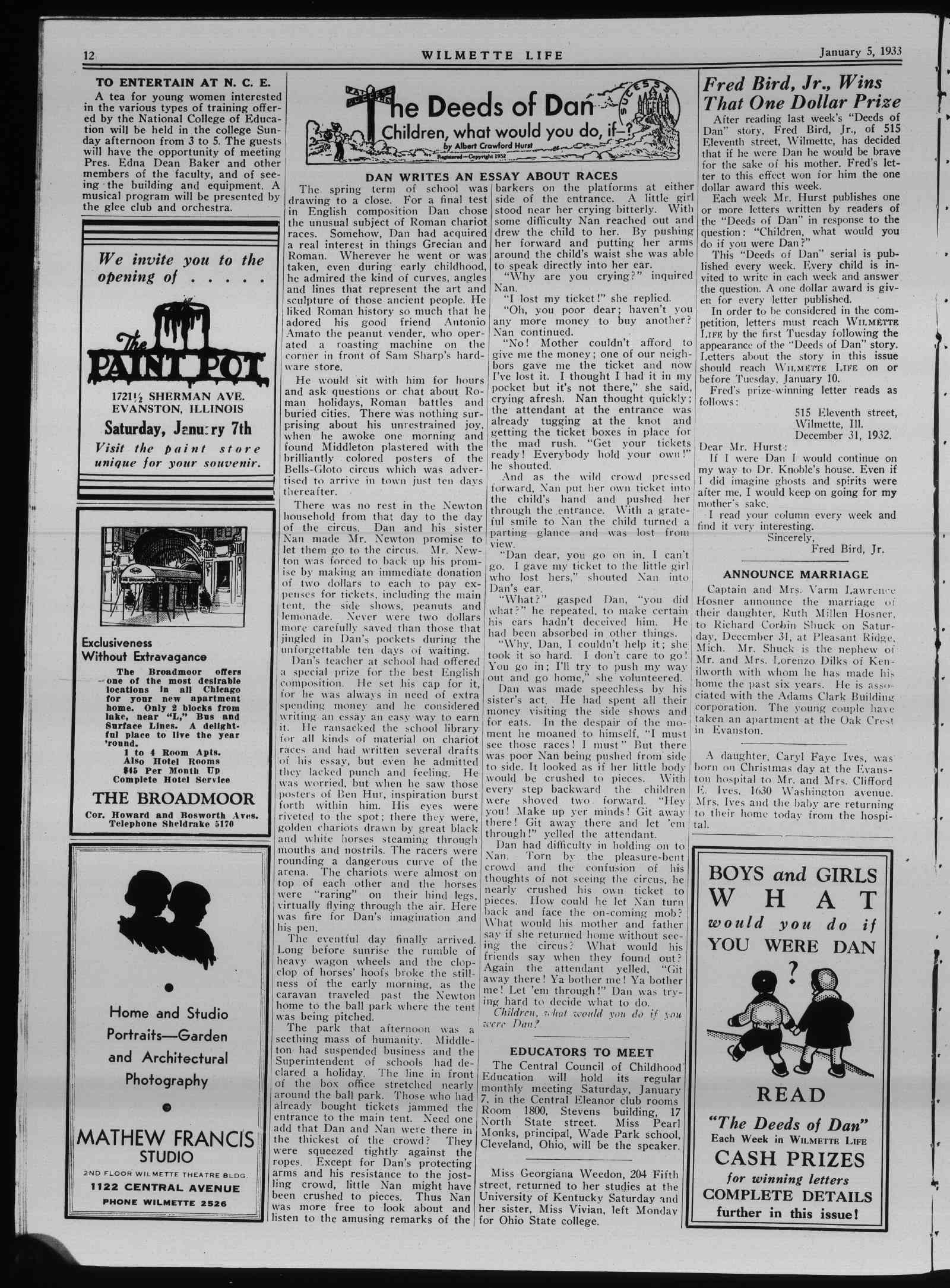 Wilmette Life (Wilmette, Illinois), 5 Jan 1933