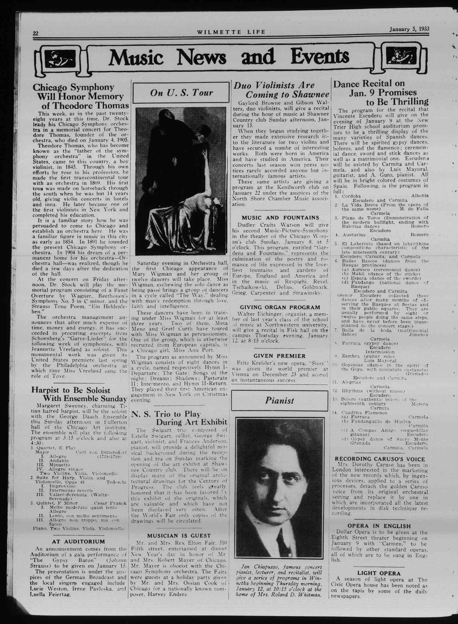 Wilmette Life (Wilmette, Illinois), 5 Jan 1933