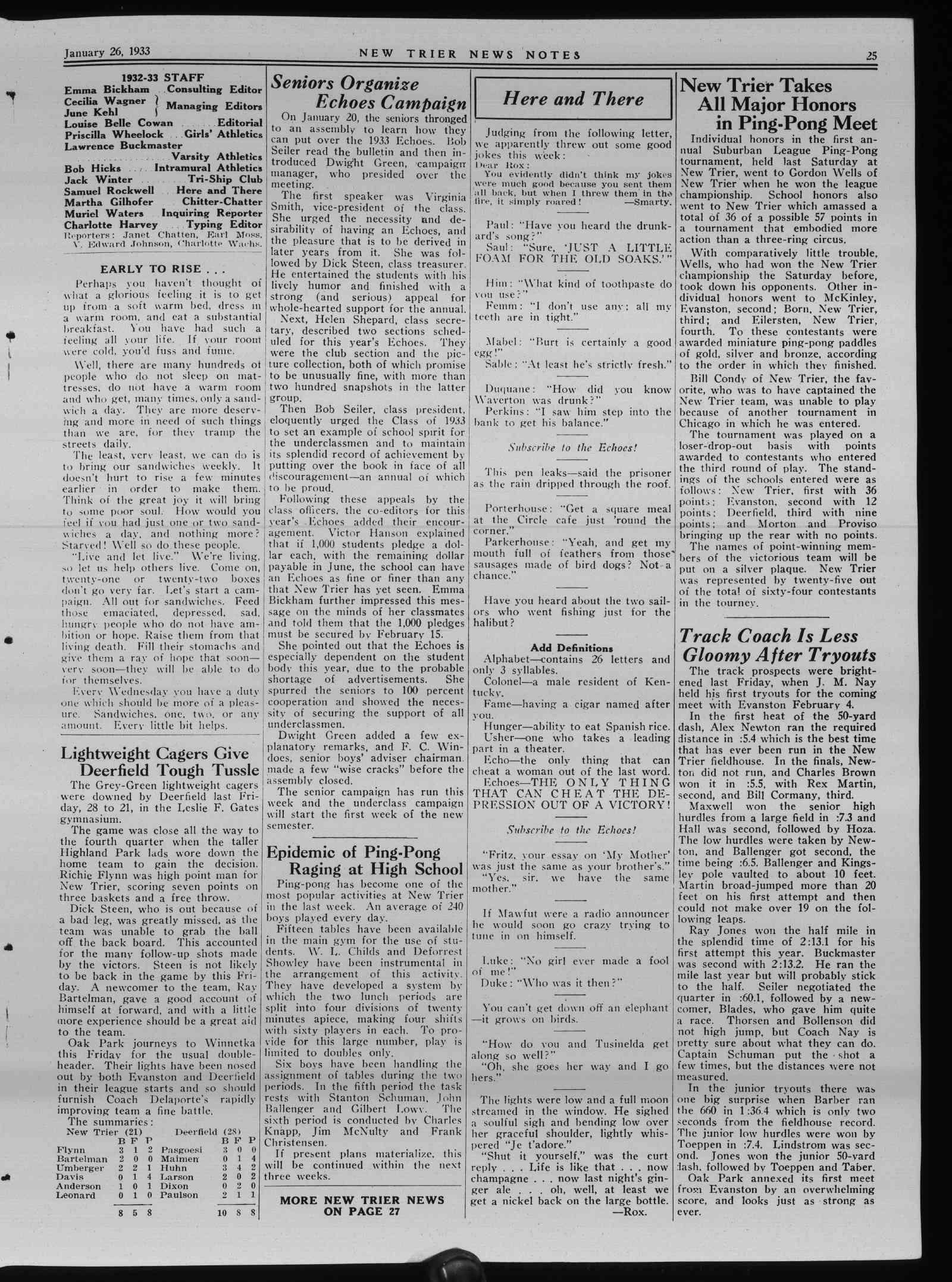 Wilmette Life (Wilmette, Illinois), 26 Jan 1933