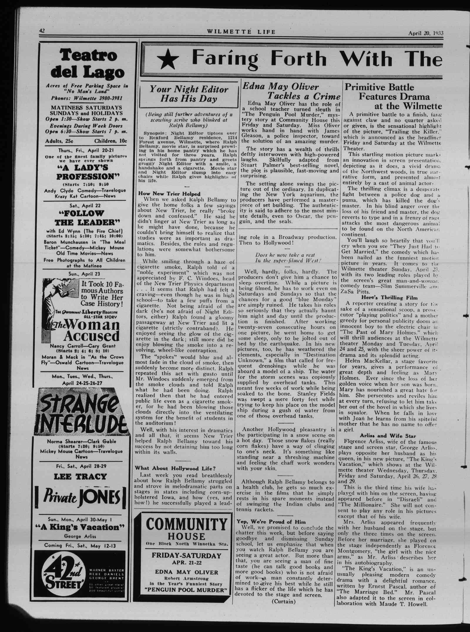 Wilmette Life (Wilmette, Illinois), 20 Apr 1933